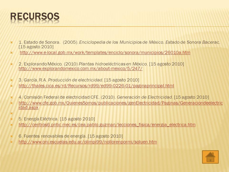 RECURSOS 1. Estado de Sonora. (2005). Enciclopedia de los Municipios de México. Estado de Sonora Bacerac. [15 agosto 2010]